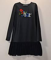 Подростковое платье для девочек из еко-кожи с фатином, фото 1
