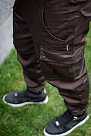 Штаны (брюки) карго cargo мужские коричневые MAN AND WOLF pants cotton