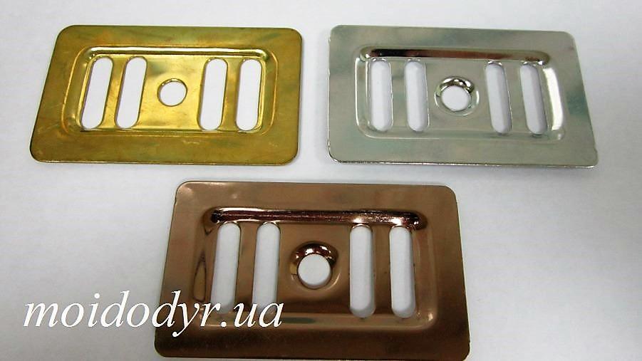 Сеточка прямоугольная на перелив для кухонной мойки 37 мм х 62 мм (золото, медь)