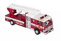 Машинка металичнская goki Пожарная машина с лестницей, детская пожарная машина, музыкальная , инерционная