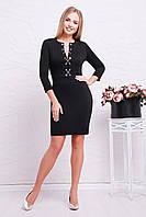 Платье черного цвета со шнуровкой, фото 1