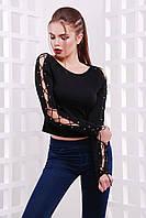 Черная женская кофта со шнуровкой, фото 1