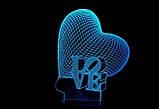 Светильник, ночник, лампа 3D Сердце, фото 2