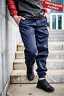 Мужские штаны джоггеры синие MAN AND WOLF коттон