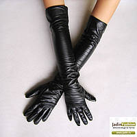 Кожаные Перчатки Высокие Черные 018ЕИК