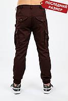 Брюки мужские карго милитари бордо MAN AND WOLF Cargo pants cotton