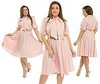 """Стильное и комфортное женское платье ткань """"Стрейч-Коттон"""" пояс в комплекте 48, 50, 52, 54 размер батал"""