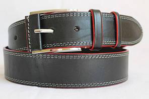 Стильний джинсовий  ремінь з натуральної шкіри  45мм, гладкий,чорний  з білою ниткою