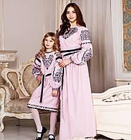 Плаття вишите Вечірнє пудрове (6-12 років)