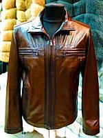 Весна-осень Куртка мужская коричневая с темными полосками 072км
