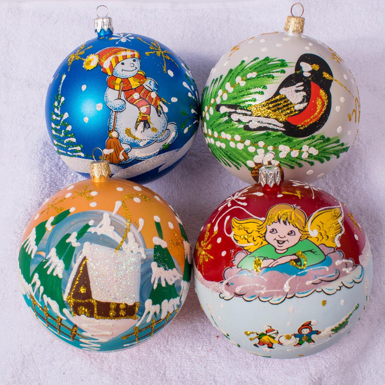 Набор новогодних шаров Handmade 402. В упаковке 4 шара.  Диаметр 100 м