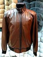 Весна-осень Куртка Мужская Коричневая Бомбер 055КМ