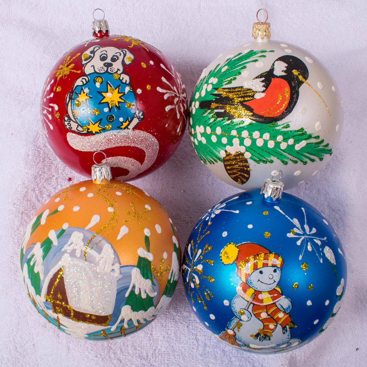 Набор новогодних шаров Handmade 403. В упаковке 4 шара.  Диаметр 100 м