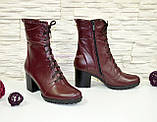 Ботинки зимние кожаные бордовые на устойчивом каблуке, фото 2