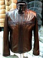 Весна-осень Мужская Куртка Коричневая С Темными Полосками 072КМ