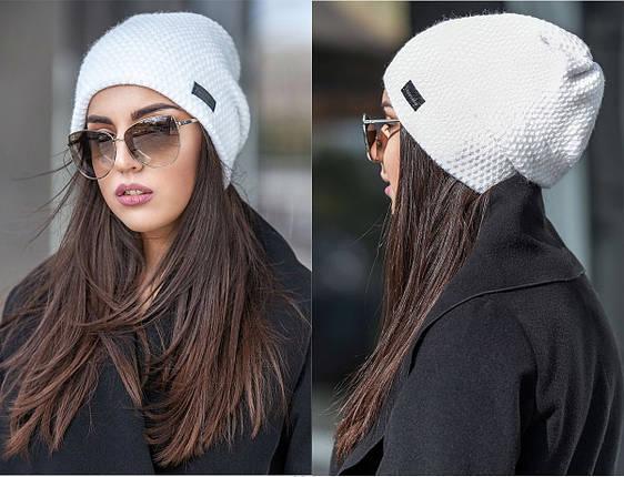 Зимняя вязаная шапка с напуском кукурузка, женские зимние вязаные шапки оптом от производителя, фото 2