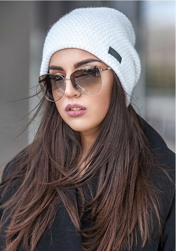 Зимняя вязаная шапка с напуском кукурузка, женские зимние вязаные шапки оптом от производителя
