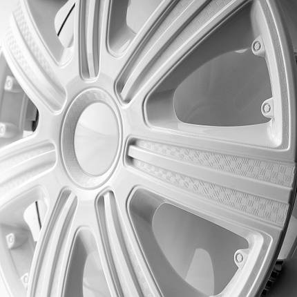 Декоративні ковпаки DTM білі R-14 (карбон) STAR, фото 2