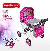 302 Кукольная коляска LILY TM Adbor (К08, серый, горошек на розовом)