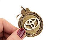 Брелок для ключей деревянный с вращающимся логотипом Toyota (Тойота)