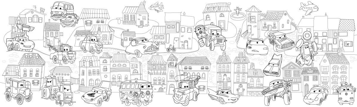 Обои-раскраски Сазочный город с животными  60*200 C-200009