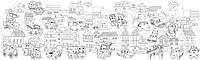 Обои-раскраски Сазочный город с животными  60*200 C-200009, фото 1