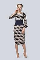 Платье прилегающего, зауженного к низу силуэта с овальным вырезом горловины, с рукавами-реглан 3/4