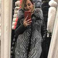 Утепленная Куртка-Жилетка с Мехом Чернобурки 0112КЖТ