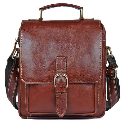 Шикарная мужская кожаная сумка S.J.D. 1016Х, цвет коричневый.