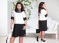 """Красивое женское платье в горошек ткань """"Хлопок+стрейч"""" 50 размер батал"""