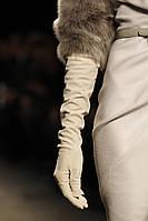 Кожаные Перчатки Высокие Бежевые 018ЕИК