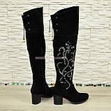 Ботфорты зимние замшевые черного цвета, фото 4