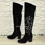 Ботфорты зимние замшевые черного цвета, фото 5
