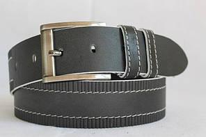 Стильний джинсовий  ремінь з натуральної шкіри  45мм,  чорний  прошитий білою  ниткою