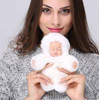 Меховой брелок на сумку Куколка 19см Белый