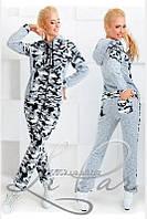 """Стильный прогулочный-спортивный женский костюм куртка+штаны""""Флис на трехнитке""""  42, 48 размер норма"""