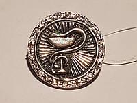 Серебряный значок Медицинская эмблема. Артикул 9028