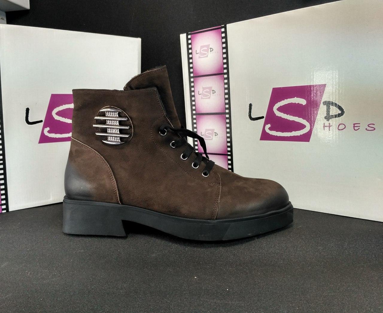 Кожаные ботинки женские на меху (коричневые), ТОП-реплика