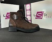 Кожаные ботинки женские на меху (коричневые), ТОП-реплика, фото 1