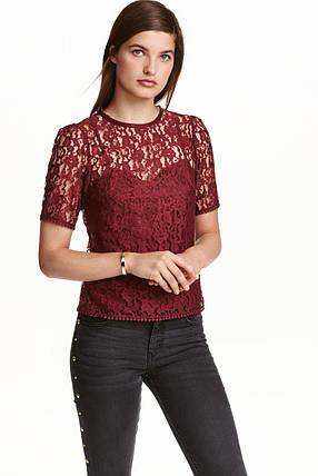 Кружевной бордовый топ H&M, фото 2