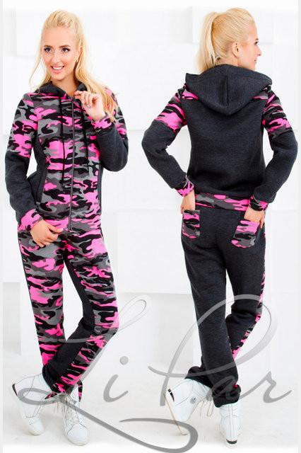 """Стильный прогулочный-спортивный женский костюм куртка+штаны""""Флис на трехнитке"""" 46, 48 размер норма"""