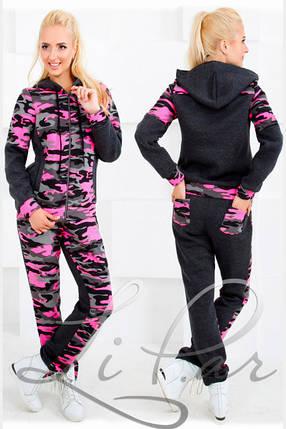 """Стильный прогулочный-спортивный женский костюм куртка+штаны""""Флис на трехнитке"""" 46, 48 размер норма, фото 2"""