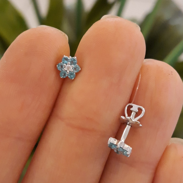 Детские серьги серебро с голубыми камнями фото 1