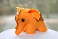 Авторская мягкая игрушка оранжевый слон из фетра, оригинальный подарок ручной работы