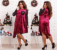 Женское нарядное бархатное платье декорировано пайеткой  бордо 48,50,52,54,56,58,60