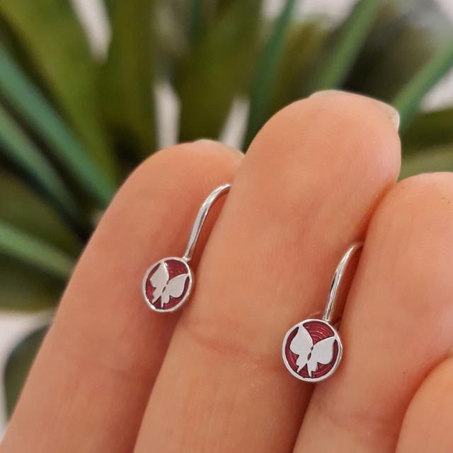 Серебряные серьги для девочки на петельке Бабочка фото 2