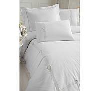Изысканное сатиновое постельное белье ЕВРО размера с вышивкой Cotton Box BIANKA CB07