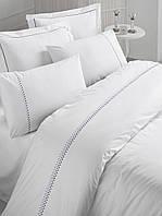 Изысканное сатиновое постельное белье ЕВРО размера с вышивкой Cotton Box DANTE CB07