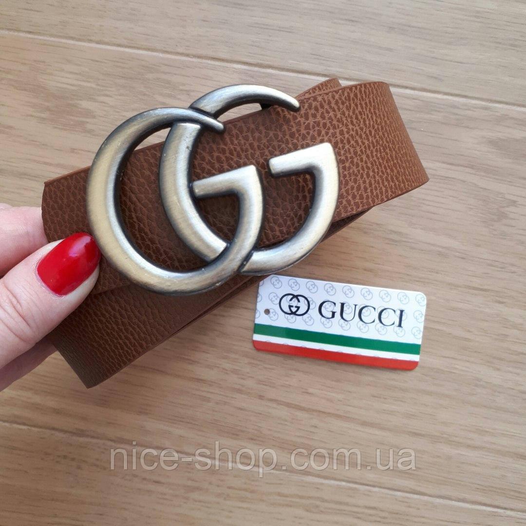 Ремень Gucci коричневый с серебряной пряжкой
