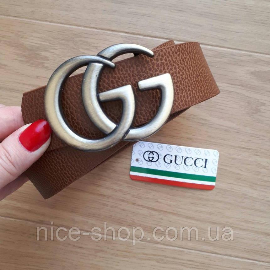 Ремень Gucci коричневый с серебряной пряжкой, фото 2